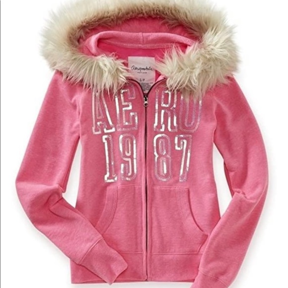 Aeropostale Womens Sequined 97 Hooded Hoodie Sweatshirt